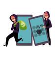 hacker in black cracking smartphone breaking pin vector image vector image