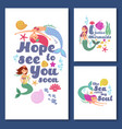 cute kids nautical cards marine childrens vector image vector image