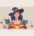 young woman dressed up in witch costume holiday vector image