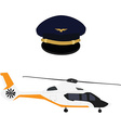 Helicopter and pilot cap vector image