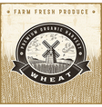 Vintage wheat harvest label vector image