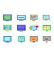 monitor icon set cartoon style vector image
