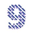 Striped latin alphabet number 9 Hatching font vector image