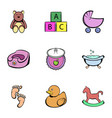 baby things icons set cartoon style vector image