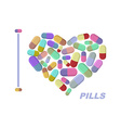 I love pills Heart symbol of medicine medi vector image