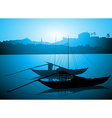Boats Docked on the River Bed vector image