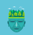 Flat design of nature on a mans head vector image