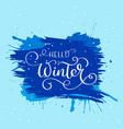hello winter text christmas card design vector image