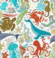 seamless pattern of wild sea life vector image