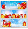 Set of horizontal festive winter banners vector image