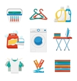 Washing and laundry flat icons vector image