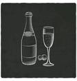 champagne on black old background vector image