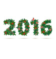 Festive christmas and new year wreath figures 2015 vector image