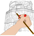 Woman draws the Mausoleum of Theodoric in Ravenna vector image