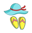 Beach hat with flip-flops icon in cartoon style vector image