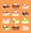 cakes and pastry icons vector image
