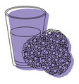 chocolate chip cookies with glass of milk purple vector image