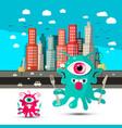 Funky alien cartoon aliens with city on vector image