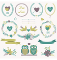 romantic set with bouquets birds hearts arrows vector image