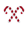white and red stick candy sweet xmas crossed vector image