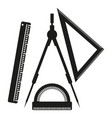 ruler compasses goniometer sign vector image
