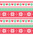 Nordic seamless knitted christmas red and green vector image