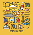 Collection of summer logo symbolizing rest vector image
