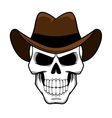 Cowboy skull character with brown felt hat vector image