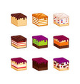flat design cake flavour slices vector image