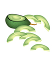 Fresh Green Avocados on A White Background vector image