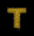 gold dust font type letter t vector image