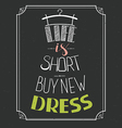 Hand drawn typography dress design with positive vector image