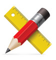 pencil and ruler icon on white bavkground vector image