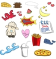 set of cute stickers sheep heart boom fries vector image