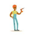 smiling builder wearing orange helmet and work vector image