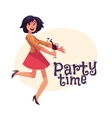 Young beautiful girl dancing at party with a wine vector image