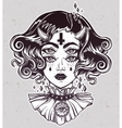 Devil girl portrait with gothic collar four eyes vector image