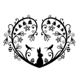 Heart Silhouette with bunny vector image