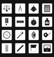 measure precision icons set squares vector image