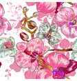 Seamless Pink Orchid Flower Pattern vector image vector image