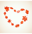 Autumn leaves heart vector image