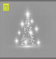 christmas tree made white glitter bokeh lights vector image