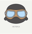 line flat color motorcycle icon helmet vector image