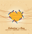 valentines card with heart and birds vector image