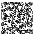 silhouette pattern roses floral design vector image