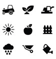 agriculture 9 icons set vector image