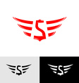 Letter S with wings East Asia style logo vector image