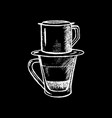 coffee cup with filter white chalk on black vector image