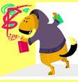 dog character as graffiti artist pet with a spray vector image
