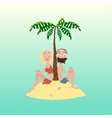 Man and woman on a desert island vector image